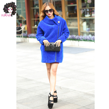 Furnix sheepskin wholesale freal fur long coat with fashion