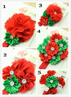 2015 Newest Top Baby Rose Flowers Elastic Headband Cute Girls Red Christmas Headbands