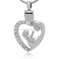 Hot Sell Ash Urn Jewelry Stainless Steel Hollow Religious Madonna & Child Cremation Urn CZ Pendant For Belief Jesus Christians