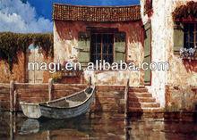 Vintage rural river boat wood oil canvas artist painting