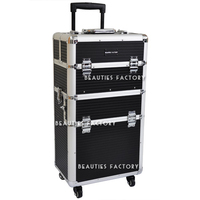 Beauties Factory 3-in-1 All Directions Rolling Wheels and Reinforced Steel Corners Makeup Trolley Case (Tokyo Collections)