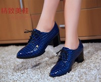 2013 Fall Ladies Thick Heels Lace up Shoes Women England Style Casual High Heels Shoes Women Casual Shoes Laces