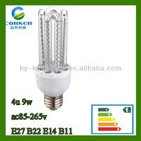 HIGHT QUALITY ac85-265v 9w 4U shape led energing saveing lamp tube