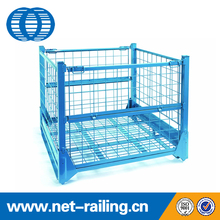 Folding metal steel wire mesh pallet stillage cage