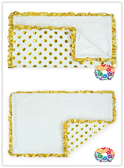 White china products baby kids gold polka dot baby blanket for Gold polka dot china