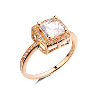 Made in China Gold Wedding Ring of initial ring design of Square zircon ring jewelry wholesaler