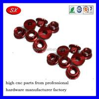 OEM red/blue oxidation aluminum nut,cnc machined aluminum parts, auto car part cnc machining service part