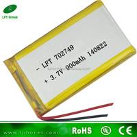 702749 3.7v 900mah polymer lithium rechargeable masturbator male battery