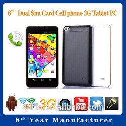 The cheapest oem chinese tablet pc!!!6 inch dual core smart phone android 4.4 tablet pc