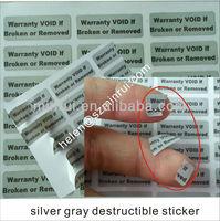 Matt silver gray destructible secure paper sticker,non removable labels