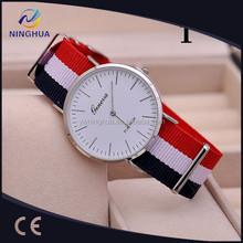 2015 hot sales fashion slim nylon belt geneva men's alibaba watches