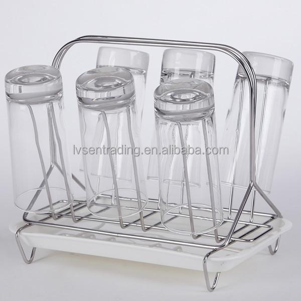 Metaal roestvrij staal 6 kopjes glazen fles opknoping droogrek opslag houders en rekken product - Metaal schorsing en glazen ...