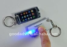 New promotional gifts cell phone shape PVC LED light with keychain
