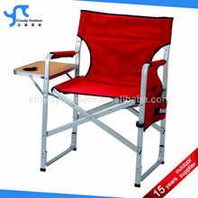 Camping aluminium directors chair with folding side table