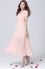2015 diseño moda mujer de bohemia gasa vestido Maxi plisado vestido largo Maxi para el verano