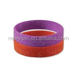Custom hot-sale ROHS silicone bands with glitter
