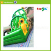 Green cheap inflatable bouncer swimming pool dry slide with pool