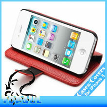 For apple iphone 5 red flip smart PU leather stand phone case mobile phone accessory