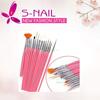 Hot sell pink 15pcs nail brushes wholesale, nail brush set, nail art brush