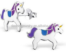 design latest Solid 925 Sterling Silver cute animal design pretty cute unicorn horse stud earrings for kid's gift-nickel free
