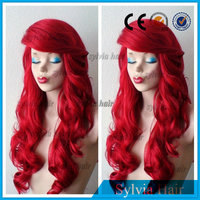 "24"" long hot red layered how shine synthetic hair lace front wig with side swept bangs"