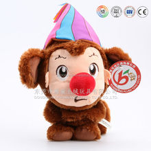 2014/2015 most popular plush monkey king.stuffed monkey with big red nose,PV fleece monkey clown in stock