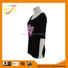 Low MOQ hot sell good quality unique design ladies custom led t-shirt
