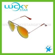 Orange aviator china sunglasses manufacturers golden metal frame mirror lens sunglasses promotional with logo