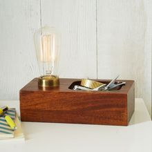 11.23-14 a bare bulb enclosed in antiqued brass Wood Block Bulb Lamp perfect for the minimalist mid-century decorator