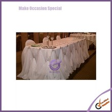 k6198 hot wholesales wedding chiffon table skirt with crystal buckle decor