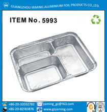 packing for food disposable aluminium foil 3 compartment food container