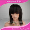 brasileño virgen pelucas de cabello humano natural color estilo recto peluca delantera del cordón con bang