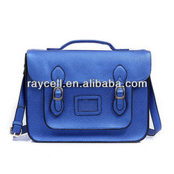 metallic dazzling blue faux PU leather school satchel bag with adjustable shoulder strap and magnetic closure and handle