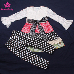 2016 spring hotsale baby clothing cotton lace kids floral outfits sets girls clothing sets LBO20151226-30