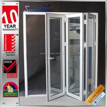 Safety glass aluminium folding sliding door/best design design bi-folding doors