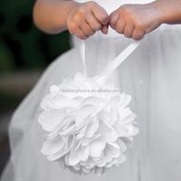 White / Burlap Kissing Ball (Flower Girl Basket Alternative)