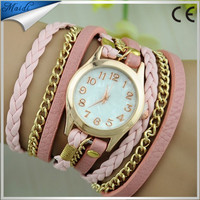 2015 New FAshion Hot Colorful Vintage women watches Weave Wrap Rivet Leather Bracelet wristwatches watch