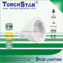 GU10 7W COB Aluminum+plastic LED spot lamp 50mm diameter