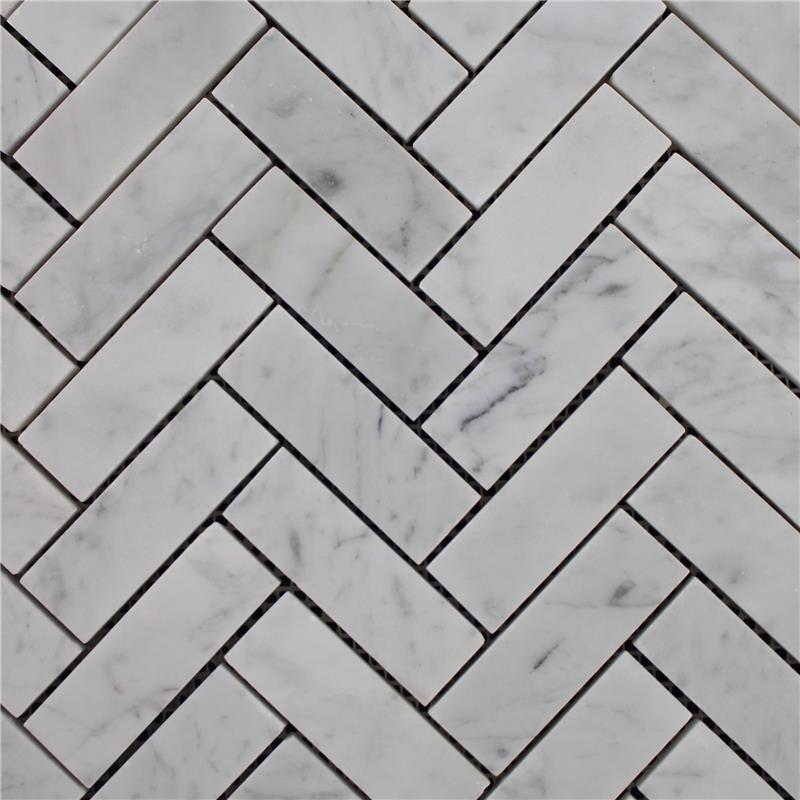 Espinha De Peixe Branco De Carrara Mosaico Backsplash