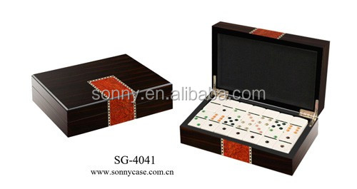Acrylic Double Six Dominoes Set Within Wooden Box