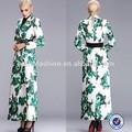 Verde floral de impresión digital de moda outwear, el último de la moda abrigos de las mujeres a largo abrigo para las mujeres