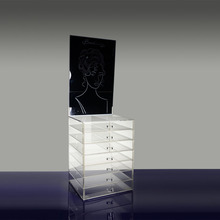 wholesale acrylic clear cube cosmetic makeup organizer with drawers