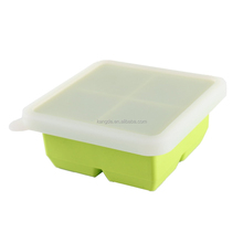 NEW Silicone Freezer 4 Cavity Larger Square Ice Mold, Larger Silicone 4 Holes Ice Cube Tray With Lid, Baby Freeze Food Tray