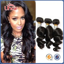 Quality products double drawn100% malaysian loose wave virgin hair weaving weft