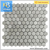 Hexagon Light wooden Grey Natural Marble Moasic tile For Wall And Floor