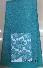 african french net lace material for wedding dress beads lace fabric QX 4248-1