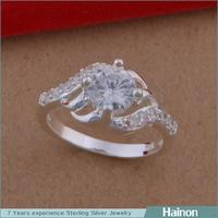 2015 fashion children\s silver rings with white zircon micro paved jewelry