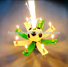 football and soccor music fireworks birthday candle