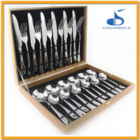 hot sale mail order Italy fork and knife set hotel gift products stainless steel 24 pcs cutlery set with wood case