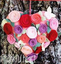 A Thankful Heart, Big Pretty Felt Rose Decorated Hearts, PATTERN ROSE HEART